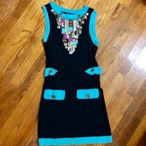 NANETTE LEPORE Dress SMALL Black Teal Sequin